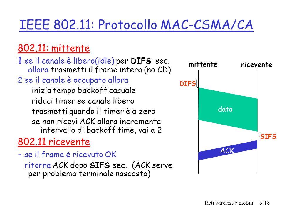 Reti wireless e mobili6-18 IEEE 802.11: Protocollo MAC-CSMA/CA 802.11: mittente 1 se il canale è libero(idle) per DIFS sec. allora trasmetti il frame