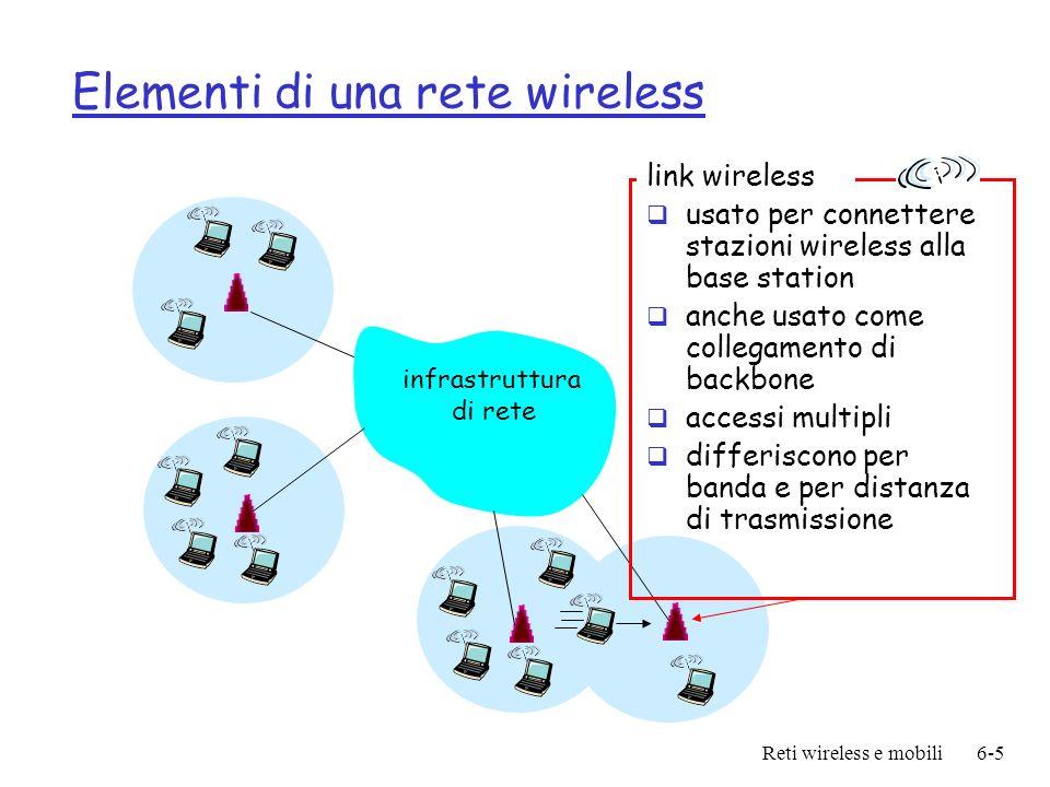 Reti wireless e mobili6-6 Caratteristiche di alcuni standard wireless 384 Kbps 56 Kbps 54 Mbps 5-11 Mbps 1 Mbps 802.15 802.11b 802.11{a,g} IS-95 CDMA, GSM UMTS/WCDMA, CDMA2000.11 p-to-p link 2G 3G Indoor 10 – 30m Outdoor 50 – 200m Mid range outdoor 200m – 4Km Long range outdoor 5Km – 20Km