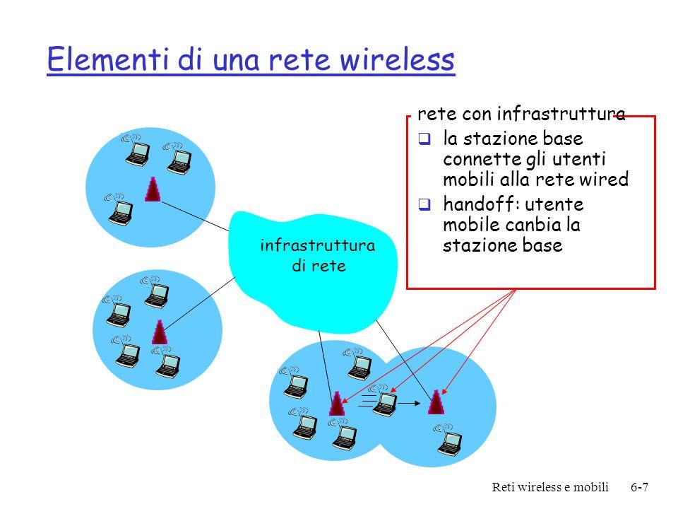 Reti wireless e mobili6-8 Elementi di una rete wireless Modo Ad hoc non esiste stazione base nodi possono solo comunicare con altri nodi nella loro copertura i nodi si roganizzano in una rete: routingoo allinterno di una area connessa