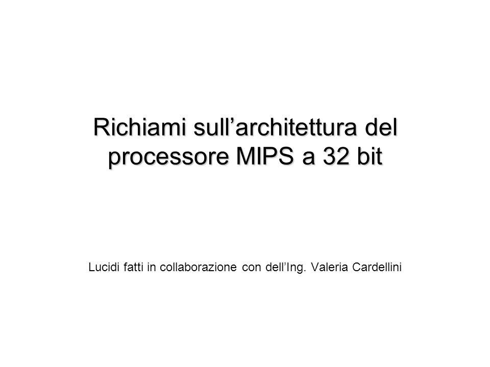 Richiami sullarchitettura del processore MIPS a 32 bit Lucidi fatti in collaborazione con dellIng.