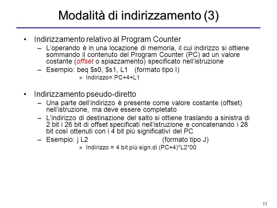 10 Modalità di indirizzamento (2) Indirizzamento tramite registro –Loperando è il contenuto di un registro del processore –Esempio: add $s0, $s1, $s2(