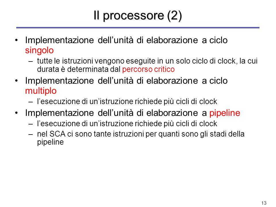 12 Il processore (1) Distinguiamo unità di elaborazione (SCA) e unità di controllo (SCO) Unità di elaborazione dati –Hardware per compiere le operazio