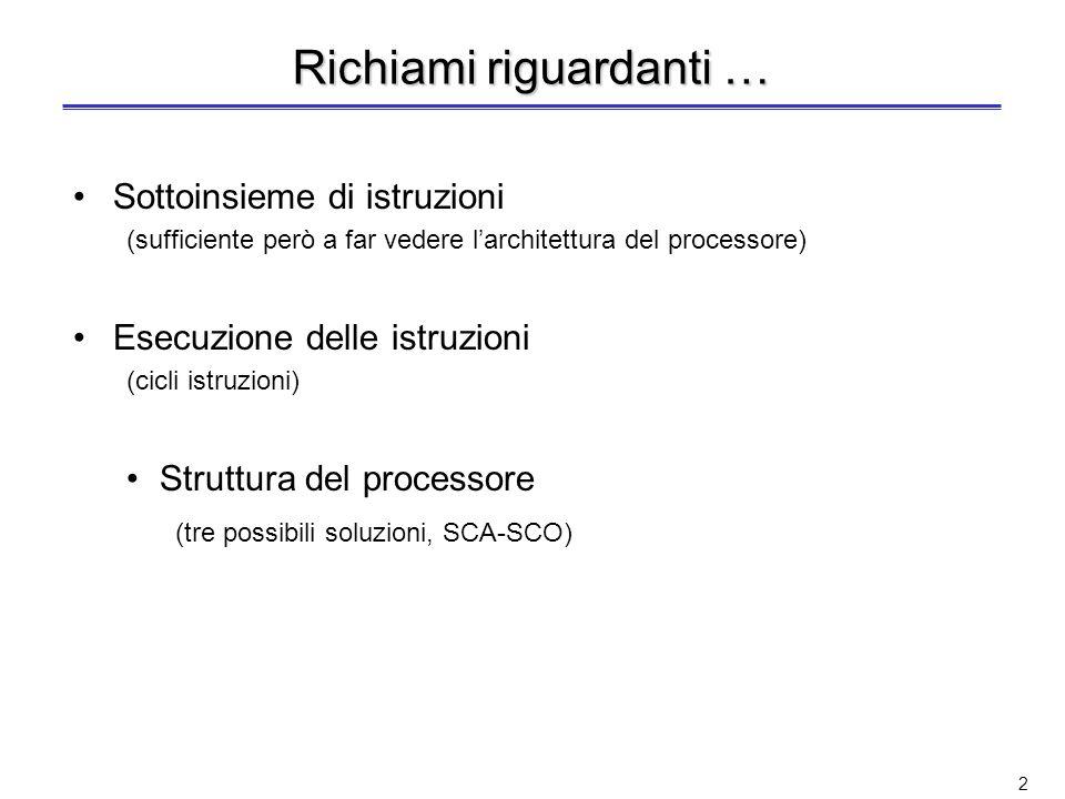 2 Richiami riguardanti … Sottoinsieme di istruzioni (sufficiente però a far vedere larchitettura del processore) Esecuzione delle istruzioni (cicli istruzioni) Struttura del processore (tre possibili soluzioni, SCA-SCO)