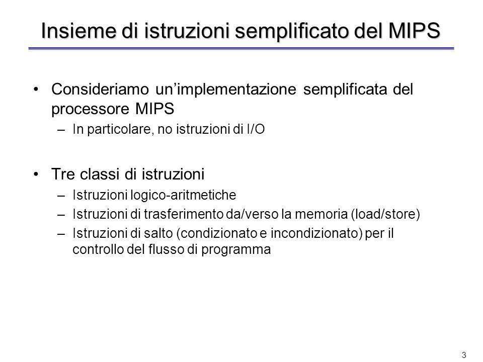 3 Insieme di istruzioni semplificato del MIPS Consideriamo unimplementazione semplificata del processore MIPS –In particolare, no istruzioni di I/O Tre classi di istruzioni –Istruzioni logico-aritmetiche –Istruzioni di trasferimento da/verso la memoria (load/store) –Istruzioni di salto (condizionato e incondizionato) per il controllo del flusso di programma