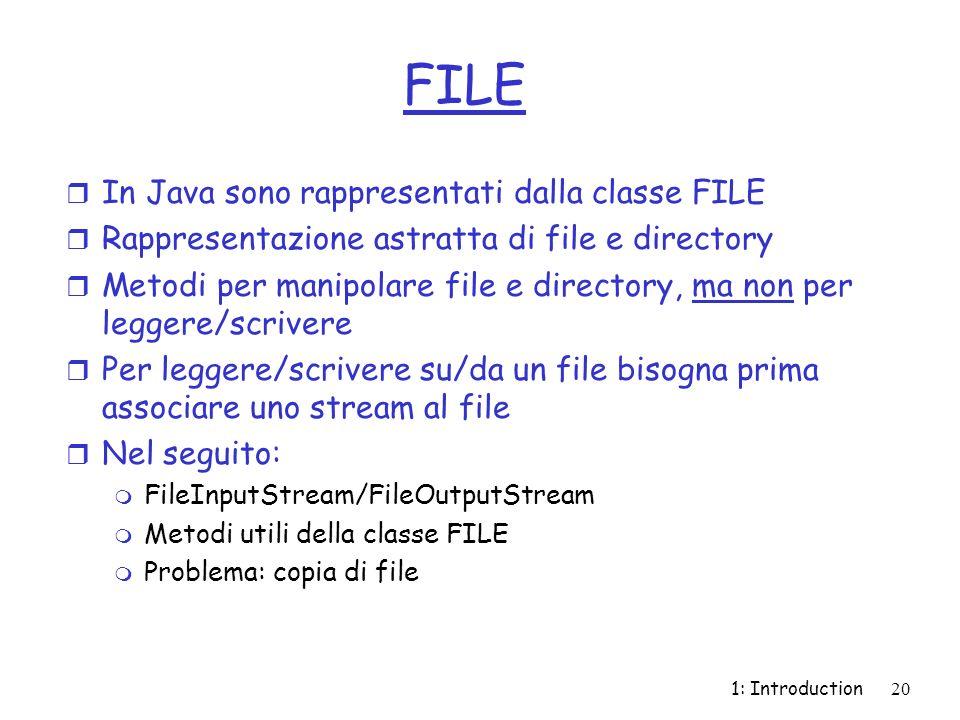 1: Introduction20 FILE r In Java sono rappresentati dalla classe FILE r Rappresentazione astratta di file e directory r Metodi per manipolare file e directory, ma non per leggere/scrivere r Per leggere/scrivere su/da un file bisogna prima associare uno stream al file r Nel seguito: m FileInputStream/FileOutputStream m Metodi utili della classe FILE m Problema: copia di file