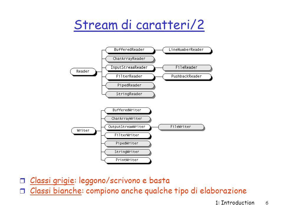 1: Introduction7 Stream di byte r Implementati dalle superclassi astratte InputStream e OutputStream r InputStream: contiene una parziale implementazione e le API (metodi e campi) per realizzare stream che leggono byte r OutputStream: contiene una parziale implementazione e le API (metodi e campi) per realizzare stream che scrivono byte r Sottoclassi di InputStream e OutputStream implementano stream specializzati (vedi prossima slide)