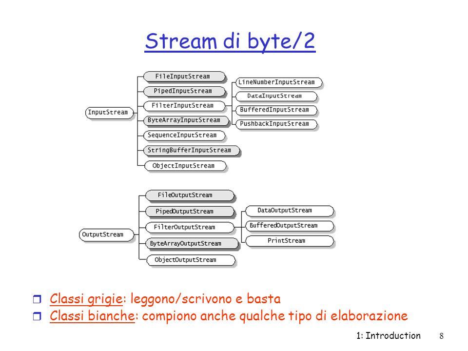 1: Introduction19 System.in/System.out I/O standard r in e out sono membri (variabili statiche final) della classe finale System r in è di tipo InputStream, out di tipo OutputStream (è in realtà oggetto di classe PrintStream, una sottoclasse di OutputStream) import java.io.*; public class classeLettura { public static void main(String args[]) throws IOException { InputStream stdIn = System.in; String inputLine; InputStreamReader in = new InputStreamReader(stdIn); BufferedReader myReader = new BufferedReader(in); try { inputLine = new String(myReader.readLine()); } catch (IOException e) {throw e;} System.out.println( Hai scritto +inputLine); }