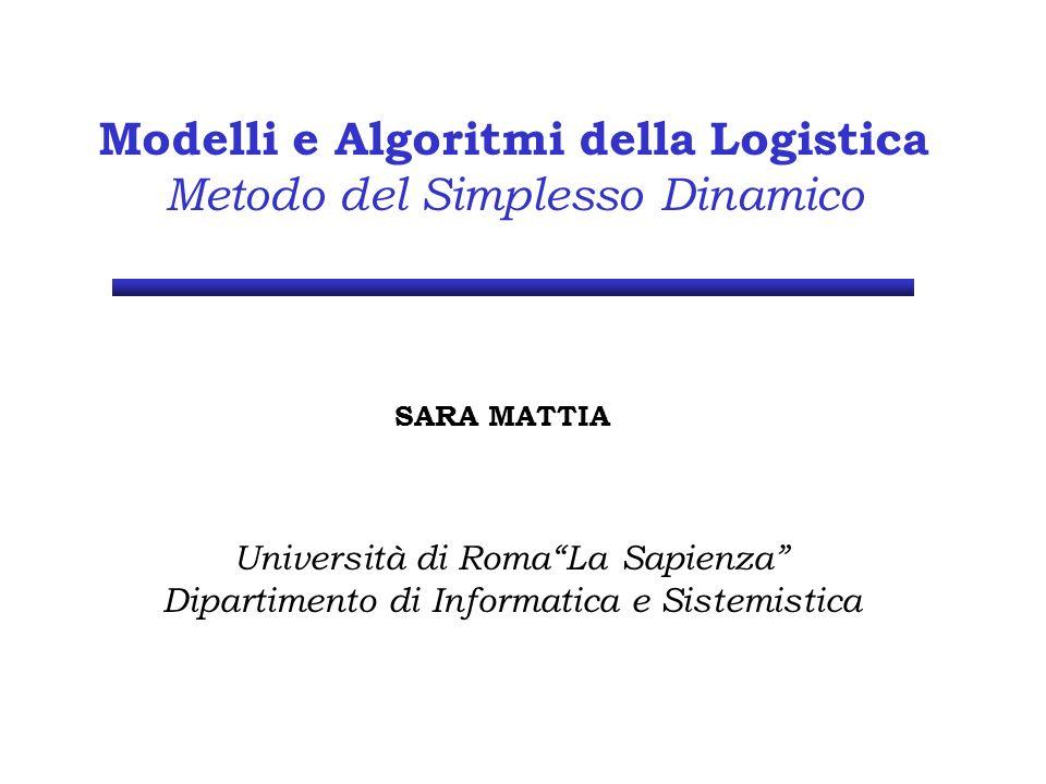 Modelli e Algoritmi della Logistica Metodo del Simplesso Dinamico SARA MATTIA Università di RomaLa Sapienza Dipartimento di Informatica e Sistemistica
