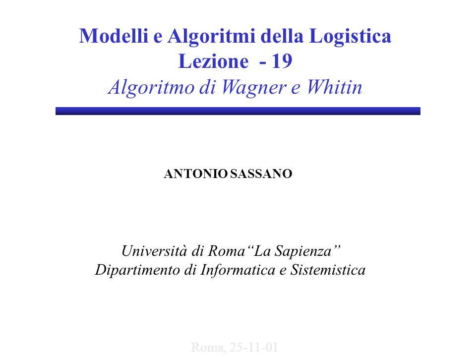Modelli e Algoritmi della Logistica Lezione - 19 Algoritmo di Wagner e Whitin ANTONIO SASSANO Università di RomaLa Sapienza Dipartimento di Informatic
