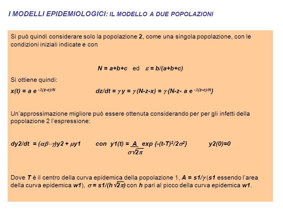 I MODELLI EPIDEMIOLOGICI: IL MODELLO A DUE POPOLAZIONI Si può quindi considerare solo la popolazione 2, come una singola popolazione, con le condizioni iniziali indicate e con N = a+b+c ed = b/(a+b+c) Si ottiene quindi: x(t) = a e - (z-c)/N dz/dt = y = (N-z-x) = {N-z- a e - (z-c)/N } Unapprossimazione migliore può essere ottenuta considerando per per gli infetti della popolazione 2 lespressione: dy2/dt = ( )y2 + y1con y1(t) = A exp {-(t-T) 2 /2 2 }y2(0)=0 2 Dove T è il centro della curva epidemica della popolazione 1, A = s1/ (s1 essendo larea della curva epidemica w1), = s1/(h 2 ) con h pari al picco della curva epidemica w1.
