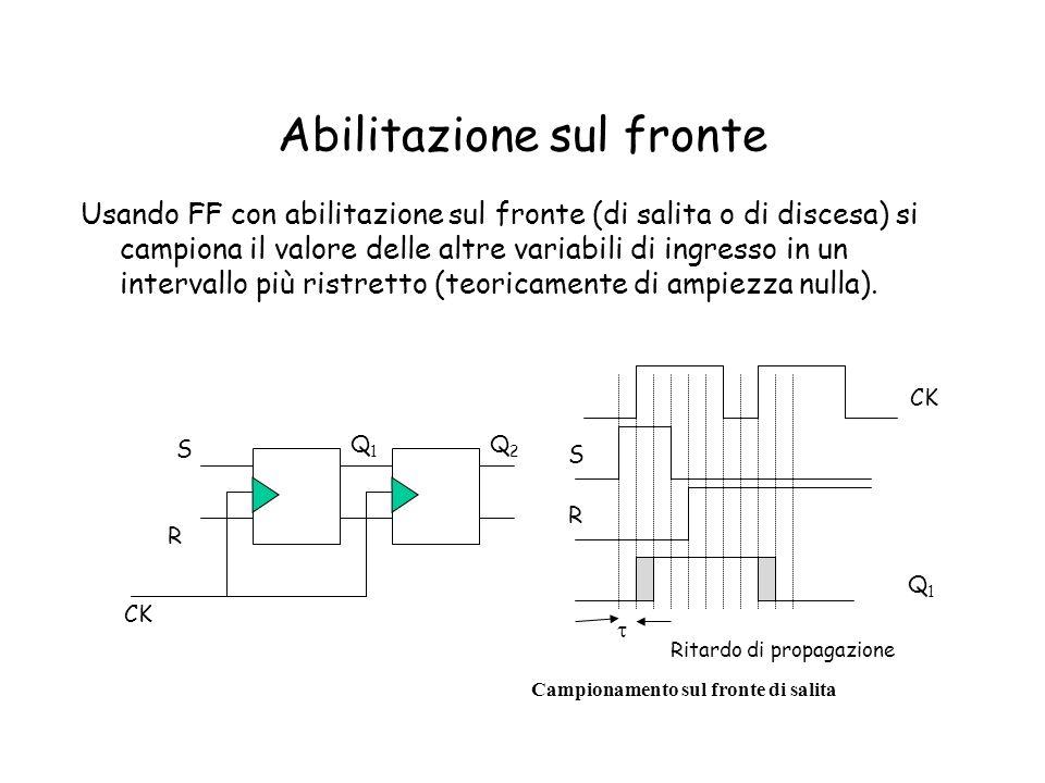 Abilitazione sul fronte Usando FF con abilitazione sul fronte (di salita o di discesa) si campiona il valore delle altre variabili di ingresso in un i