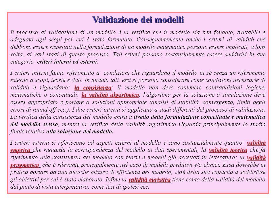 Validazione dei modelli Il processo di validazione di un modello è la verifica che il modello sia ben fondato, trattabile e adeguato agli scopi per cui è stato formulato.