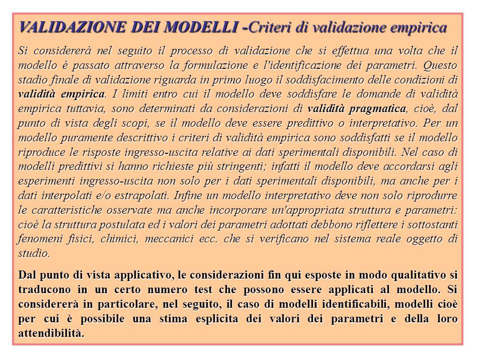 VALIDAZIONE DEI MODELLI -Criteri di validazione empirica Si considererà nel seguito il processo di validazione che si effettua una volta che il modell