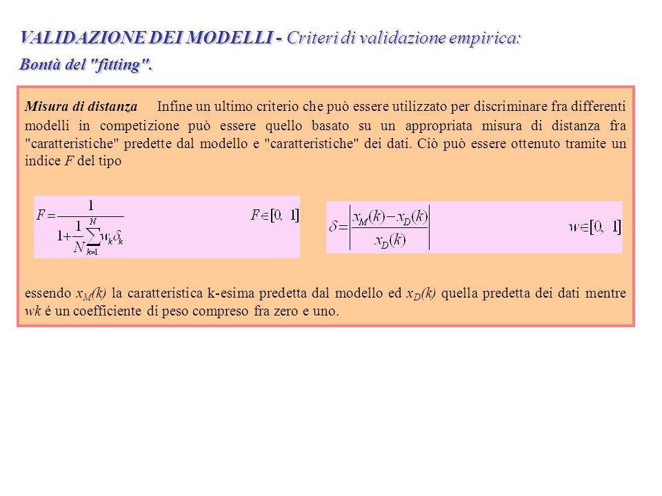 VALIDAZIONE DEI MODELLI - Criteri di validazione empirica: Bontà del