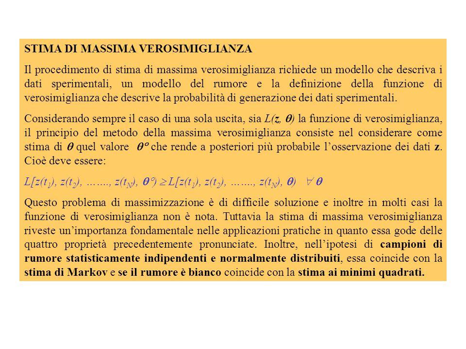 STIMA LINEARE AI MINIMI QUADRATI Si faccia riferimento ad un modello a una sola uscita in cui questa dipenda linearmente dai parametri: y(t, ) = g(x(t)) g i (x(t)) i = r i (t) i Lobiettivo del processo di stima è di ottenere i valori numerici di a partire dai dati rumorosi z(ti) e dalla forma funzionale del modello.