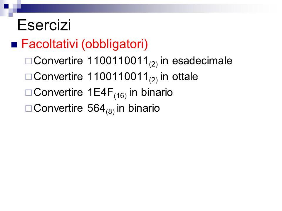 Esercizi Facoltativi (obbligatori) Convertire 1100110011 (2) in esadecimale Convertire 1100110011 (2) in ottale Convertire 1E4F (16) in binario Conver
