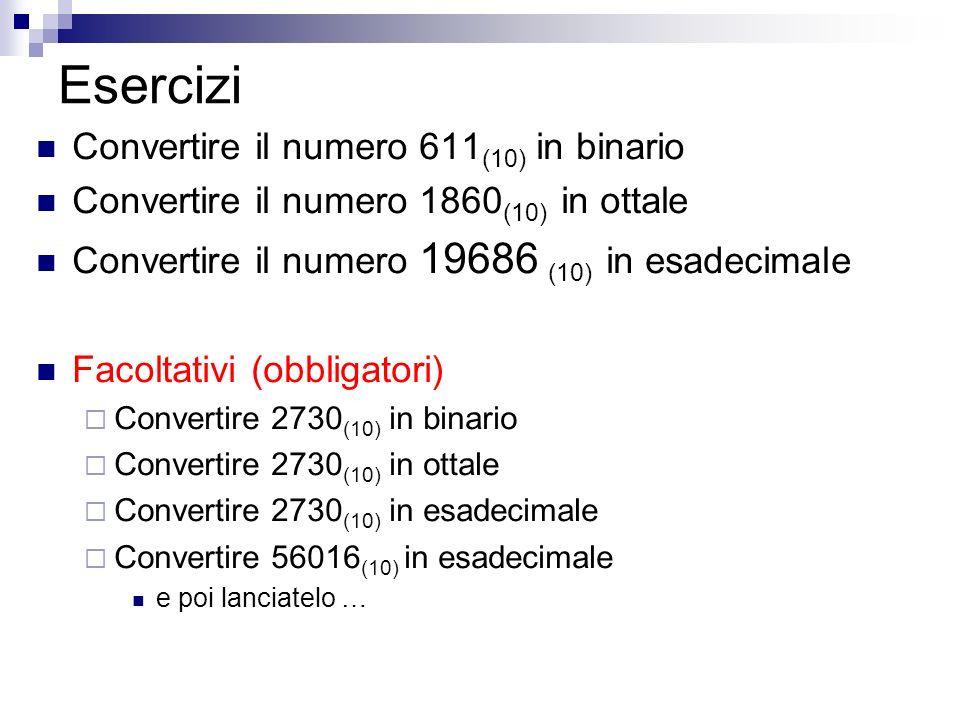 Esercizi Convertire il numero 611 (10) in binario Convertire il numero 1860 (10) in ottale Convertire il numero 19686 (10) in esadecimale Facoltativi