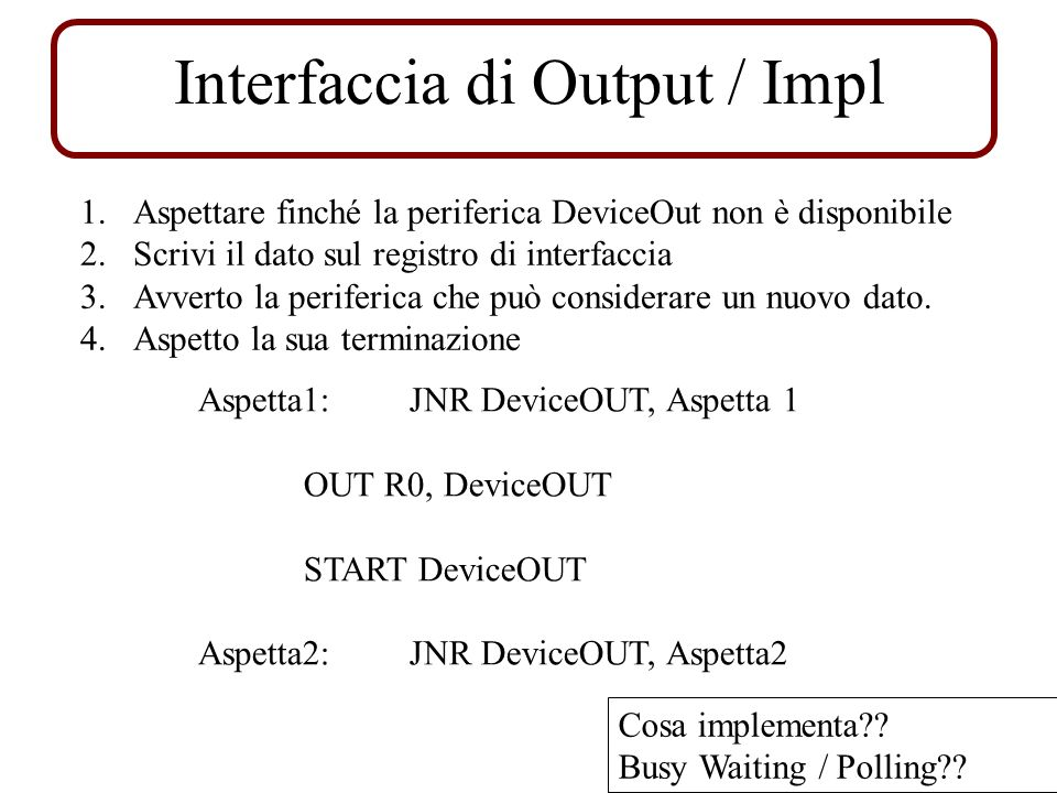 Interfaccia di Output / Impl Aspetta1: JNR DeviceOUT, Aspetta 1 OUT R0, DeviceOUT START DeviceOUT Aspetta2: JNR DeviceOUT, Aspetta2 1.Aspettare finché