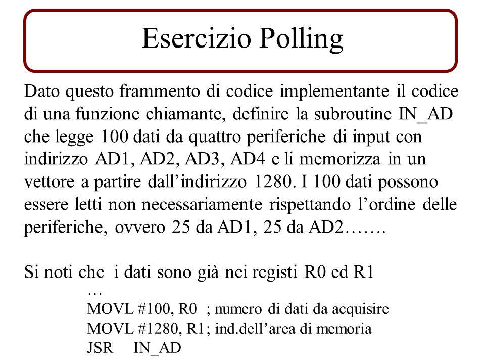 Esercizio Polling Dato questo frammento di codice implementante il codice di una funzione chiamante, definire la subroutine IN_AD che legge 100 dati d