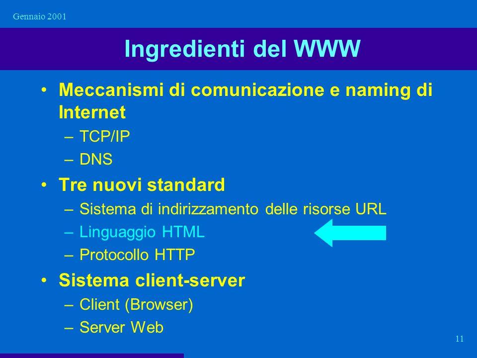 Gennaio 2001 11 Ingredienti del WWW Meccanismi di comunicazione e naming di Internet –TCP/IP –DNS Tre nuovi standard –Sistema di indirizzamento delle