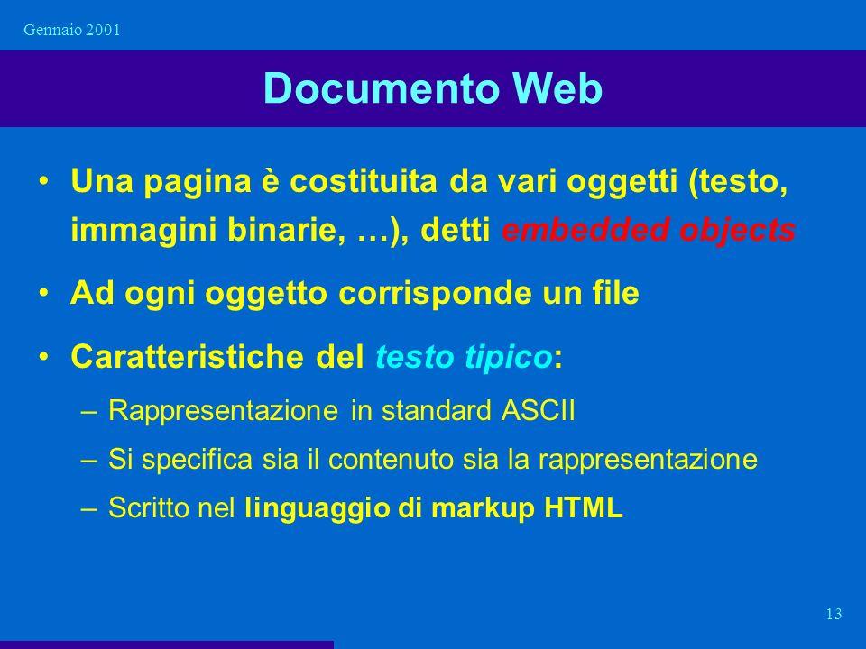 Gennaio 2001 13 Documento Web Una pagina è costituita da vari oggetti (testo, immagini binarie, …), detti embedded objects Ad ogni oggetto corrisponde