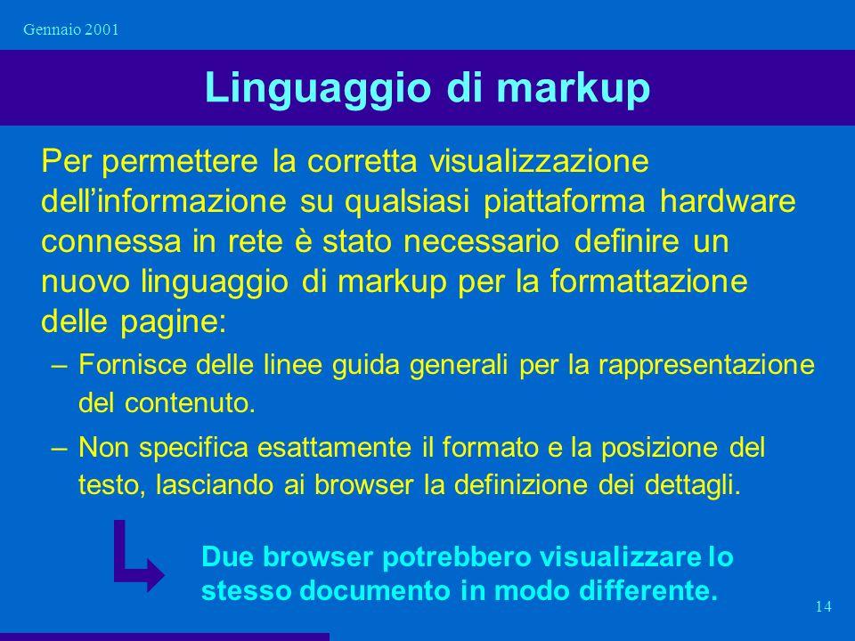 Gennaio 2001 14 Linguaggio di markup Per permettere la corretta visualizzazione dellinformazione su qualsiasi piattaforma hardware connessa in rete è