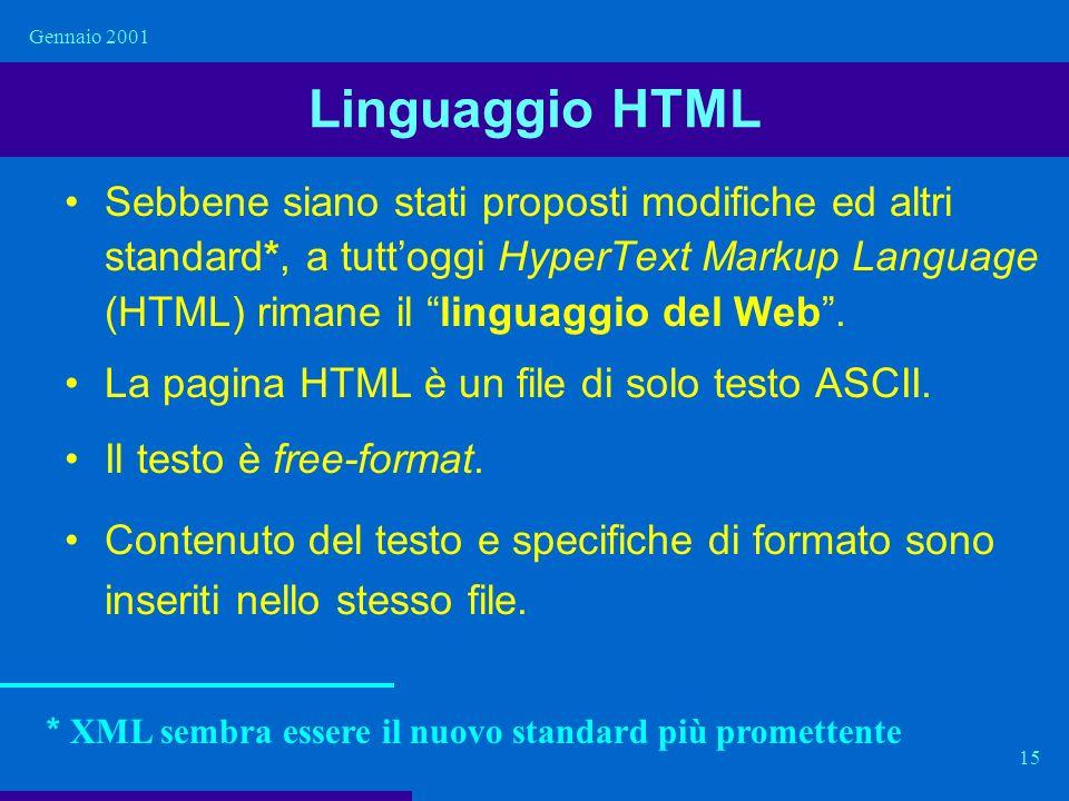 Gennaio 2001 15 Linguaggio HTML Sebbene siano stati proposti modifiche ed altri standard*, a tuttoggi HyperText Markup Language (HTML) rimane il lingu