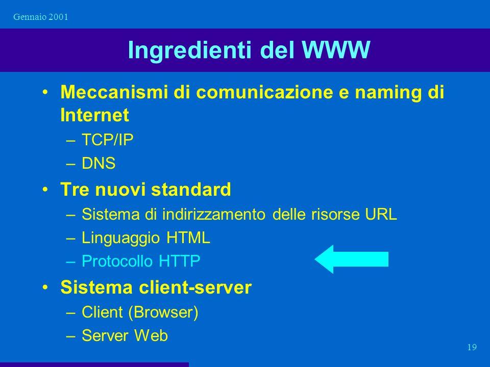 Gennaio 2001 19 Ingredienti del WWW Meccanismi di comunicazione e naming di Internet –TCP/IP –DNS Tre nuovi standard –Sistema di indirizzamento delle