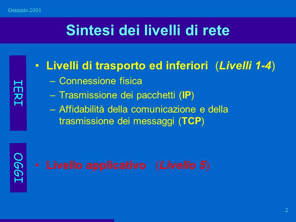 Gennaio 2001 2 Sintesi dei livelli di rete Livelli di trasporto ed inferiori (Livelli 1-4) –Connessione fisica –Trasmissione dei pacchetti (IP) –Affid