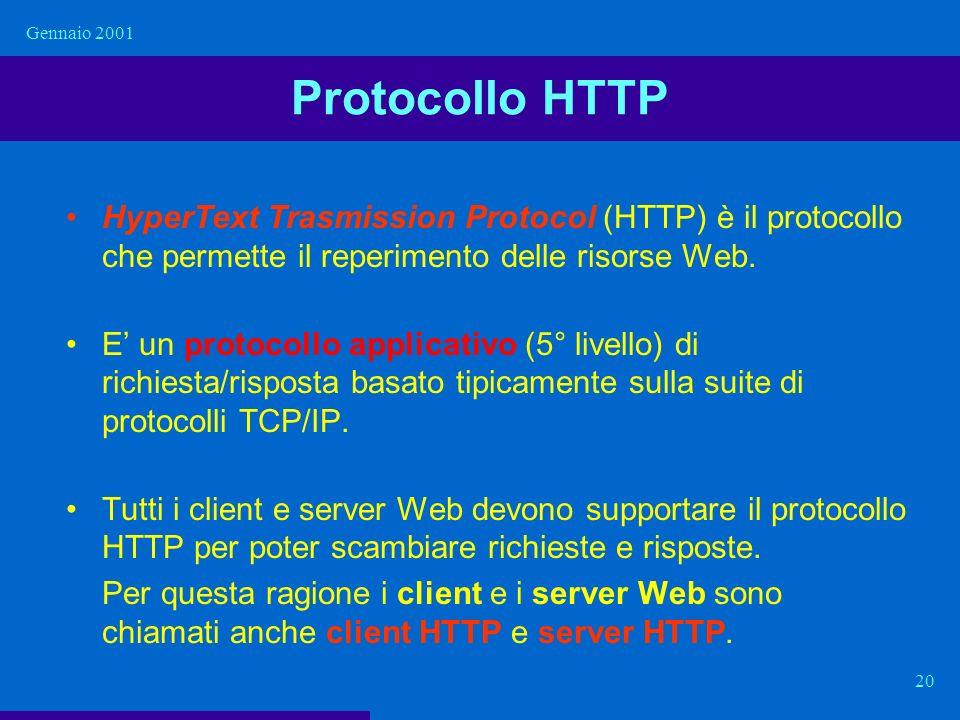 Gennaio 2001 20 Protocollo HTTP HyperText Trasmission Protocol (HTTP) è il protocollo che permette il reperimento delle risorse Web. E un protocollo a