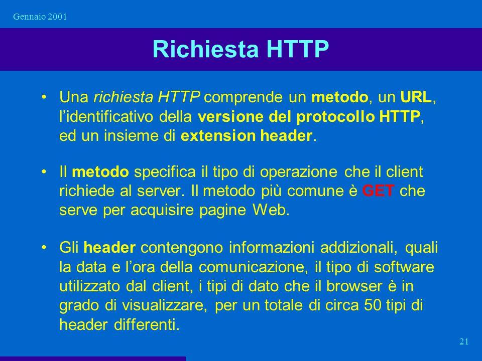 Gennaio 2001 21 Richiesta HTTP Una richiesta HTTP comprende un metodo, un URL, lidentificativo della versione del protocollo HTTP, ed un insieme di ex