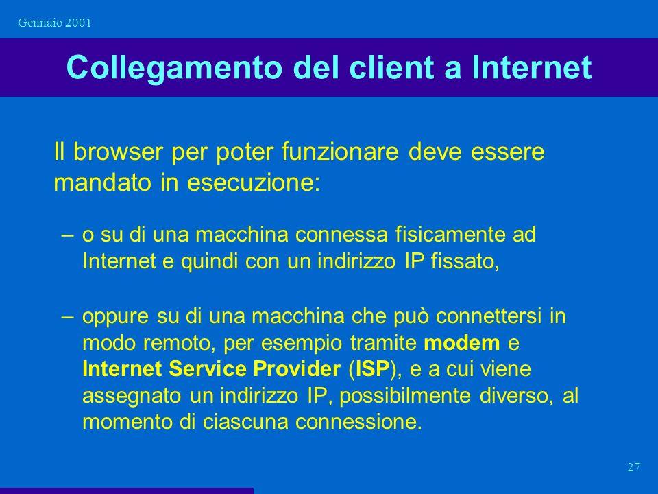 Gennaio 2001 27 Collegamento del client a Internet Il browser per poter funzionare deve essere mandato in esecuzione: –o su di una macchina connessa f