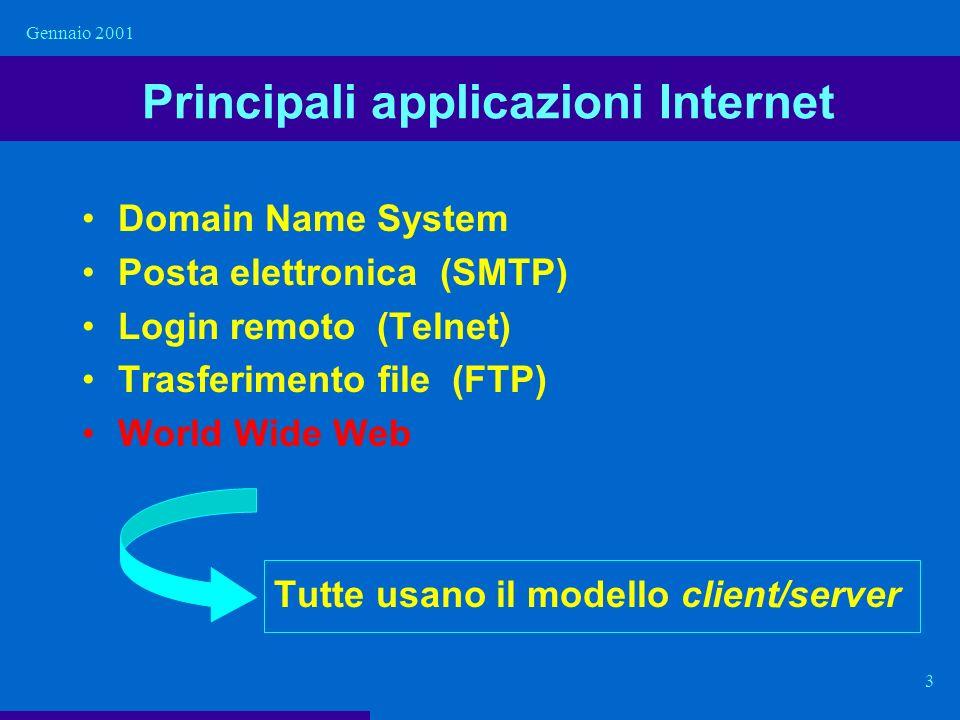 Gennaio 2001 3 Principali applicazioni Internet Domain Name System Posta elettronica (SMTP) Login remoto (Telnet) Trasferimento file (FTP) World Wide