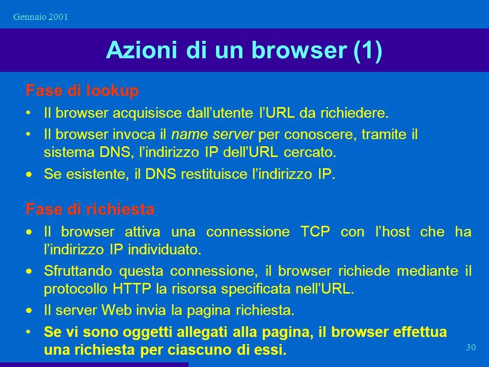 Gennaio 2001 30 Azioni di un browser (1) Fase di lookup Il browser acquisisce dallutente lURL da richiedere. Il browser invoca il name server per cono