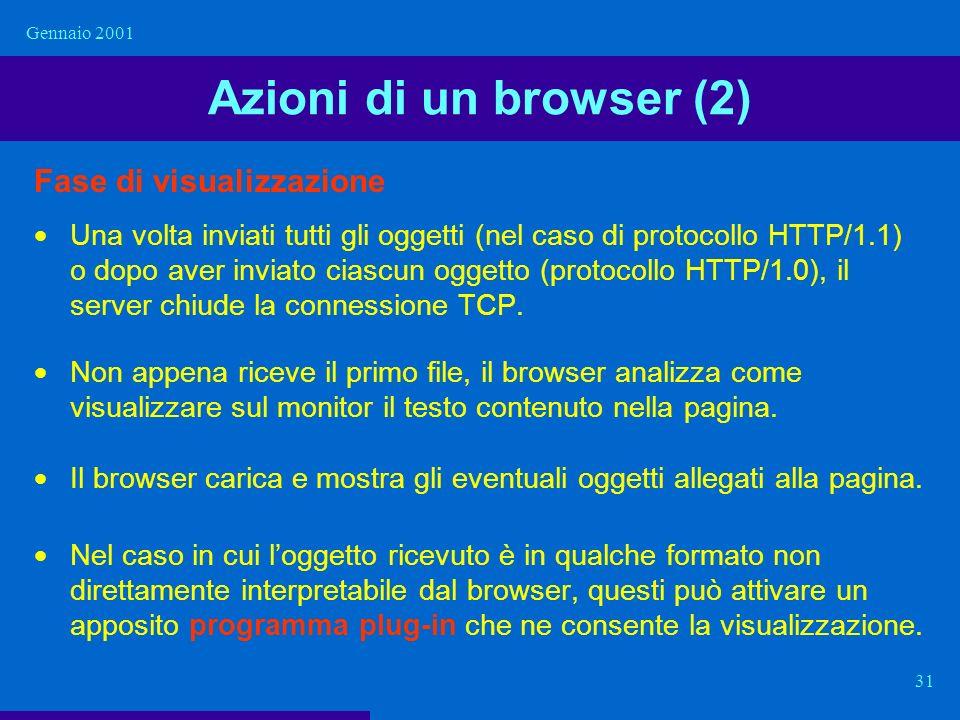 Gennaio 2001 31 Azioni di un browser (2) Fase di visualizzazione Una volta inviati tutti gli oggetti (nel caso di protocollo HTTP/1.1) o dopo aver inv