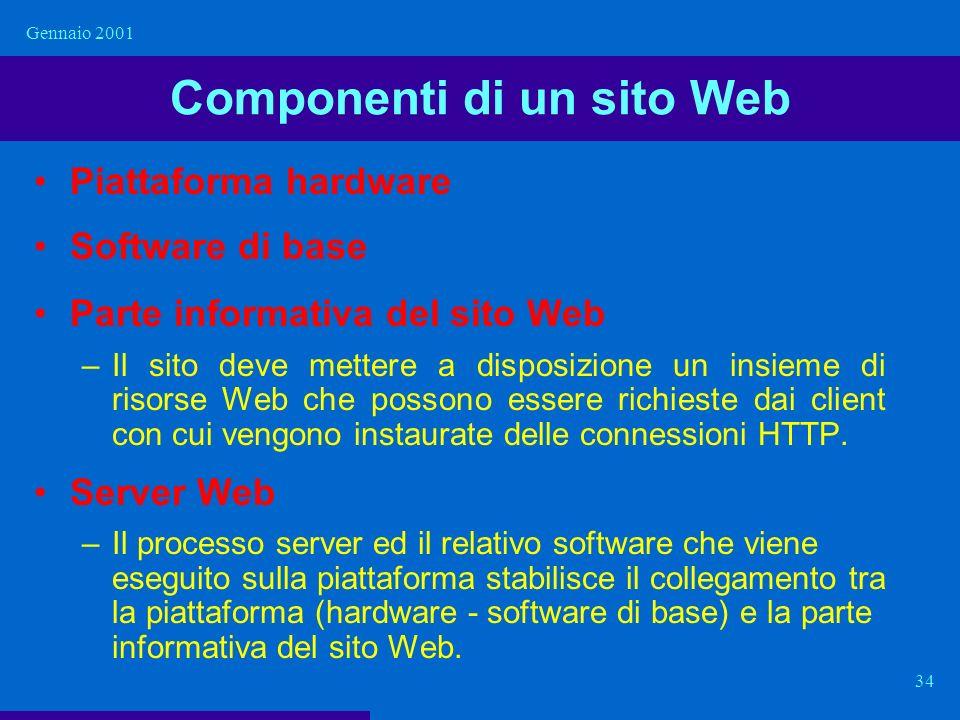 Gennaio 2001 34 Componenti di un sito Web Piattaforma hardware Software di base Parte informativa del sito Web –Il sito deve mettere a disposizione un