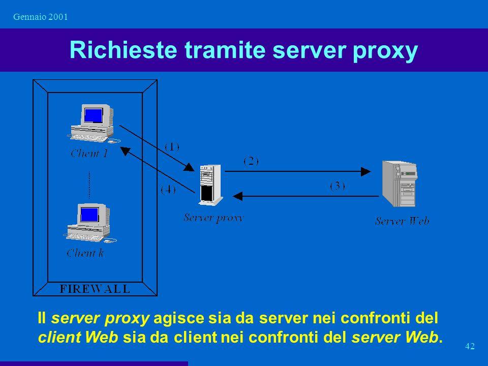 Gennaio 2001 42 Richieste tramite server proxy Il server proxy agisce sia da server nei confronti del client Web sia da client nei confronti del serve