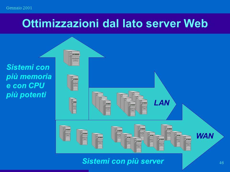 Gennaio 2001 46 Ottimizzazioni dal lato server Web Sistemi con più memoria e con CPU più potenti Sistemi con più server LAN WAN