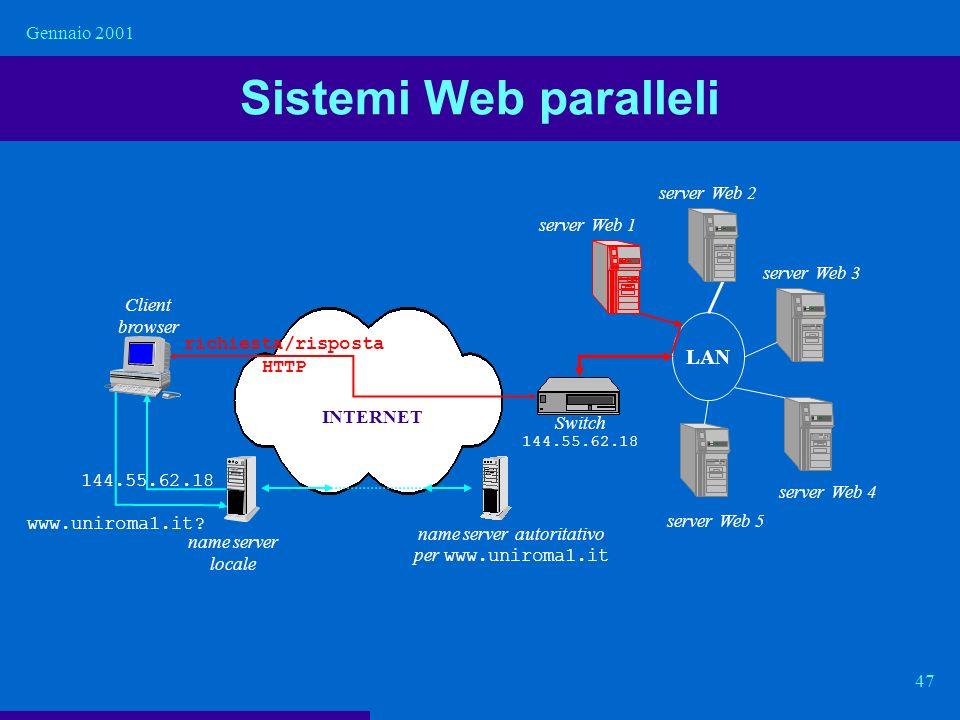 Gennaio 2001 47 Sistemi Web paralleli LAN name server autoritativo per www.uniroma1.it Client browser richiesta/risposta HTTP name server locale www.u