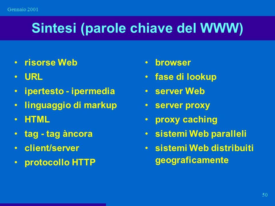 Gennaio 2001 50 Sintesi (parole chiave del WWW) risorse Web URL ipertesto - ipermedia linguaggio di markup HTML tag - tag àncora client/server protoco