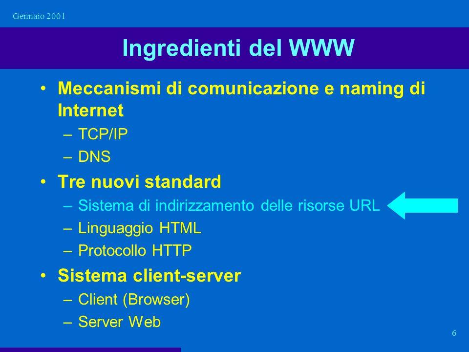 Gennaio 2001 6 Ingredienti del WWW Meccanismi di comunicazione e naming di Internet –TCP/IP –DNS Tre nuovi standard –Sistema di indirizzamento delle r