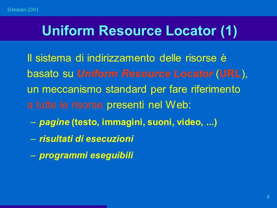 Gennaio 2001 9 Uniform Resource Locator (2) schema :// host.domain / pathname http :// www.dis.uniroma1.it / docenti/orari/esami.html schema: indica il modo con cui accedere alla risorsa, cioè quale protocollo bisogna usare per interagire con il server che controlla la risorsa.
