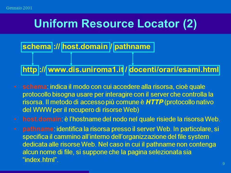 Gennaio 2001 9 Uniform Resource Locator (2) schema :// host.domain / pathname http :// www.dis.uniroma1.it / docenti/orari/esami.html schema: indica i