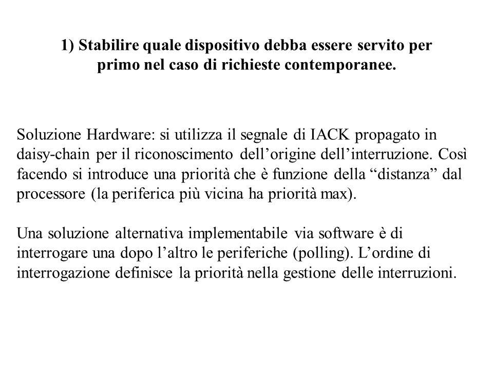 1) Stabilire quale dispositivo debba essere servito per primo nel caso di richieste contemporanee. Soluzione Hardware: si utilizza il segnale di IACK