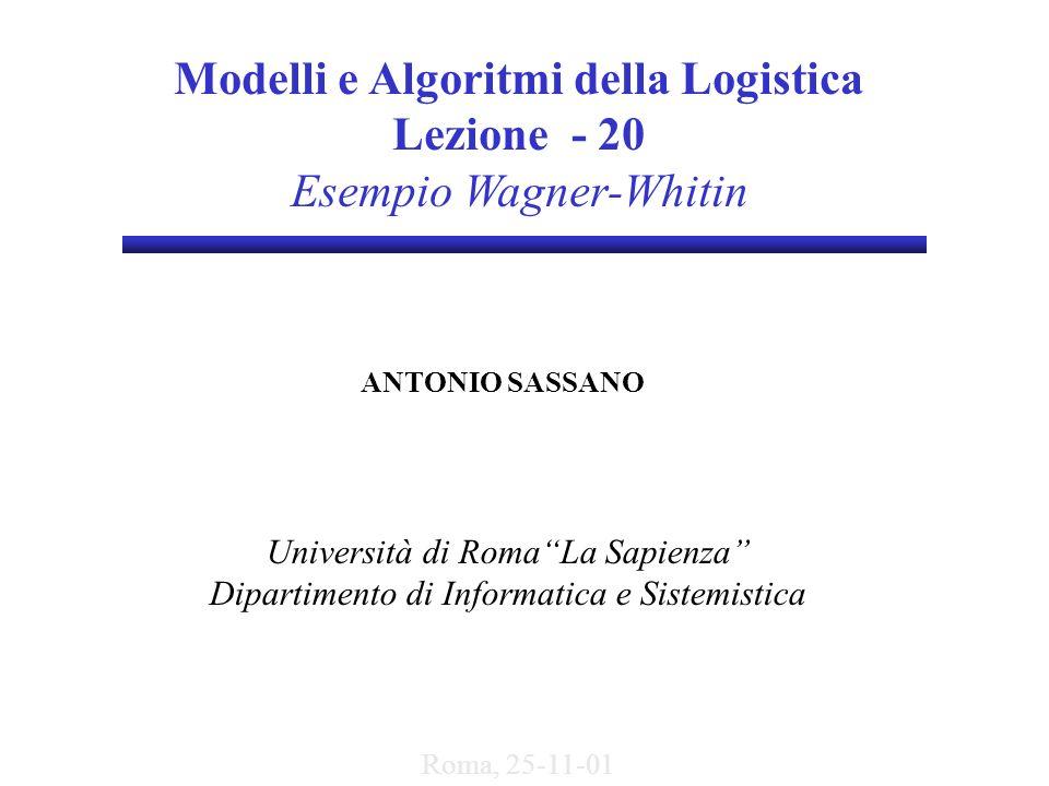 Modelli e Algoritmi della Logistica Lezione - 20 Esempio Wagner-Whitin ANTONIO SASSANO Università di RomaLa Sapienza Dipartimento di Informatica e Sis