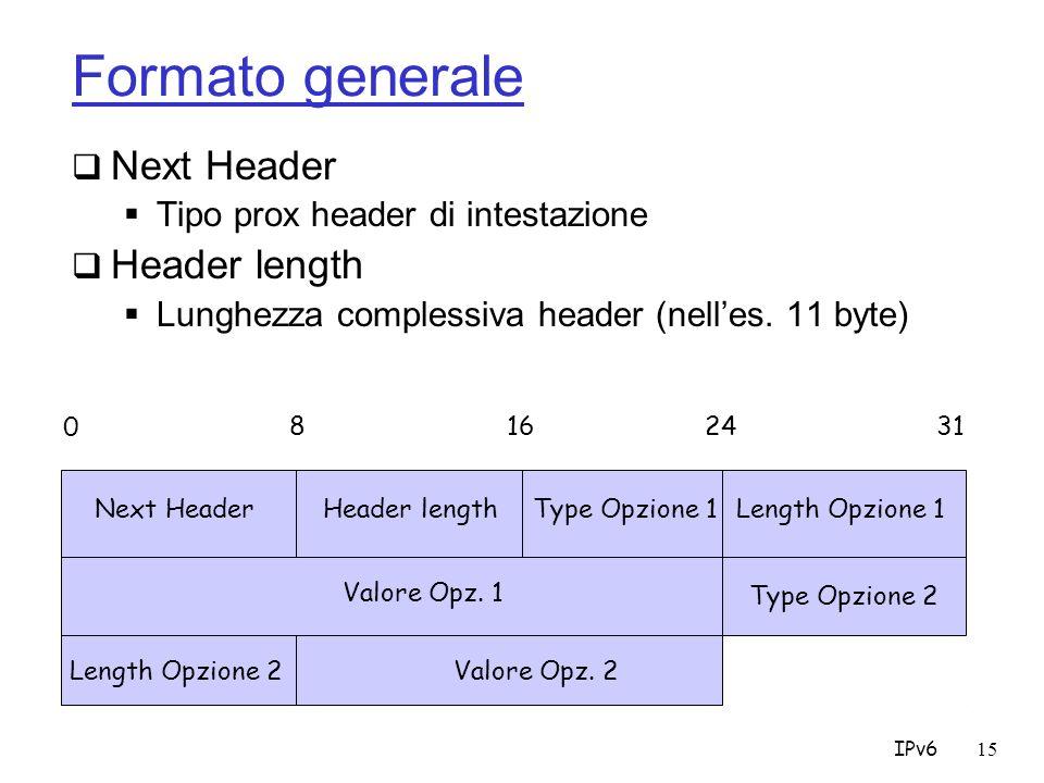 IPv615 Formato generale Next Header Tipo prox header di intestazione Header length Lunghezza complessiva header (nelles.