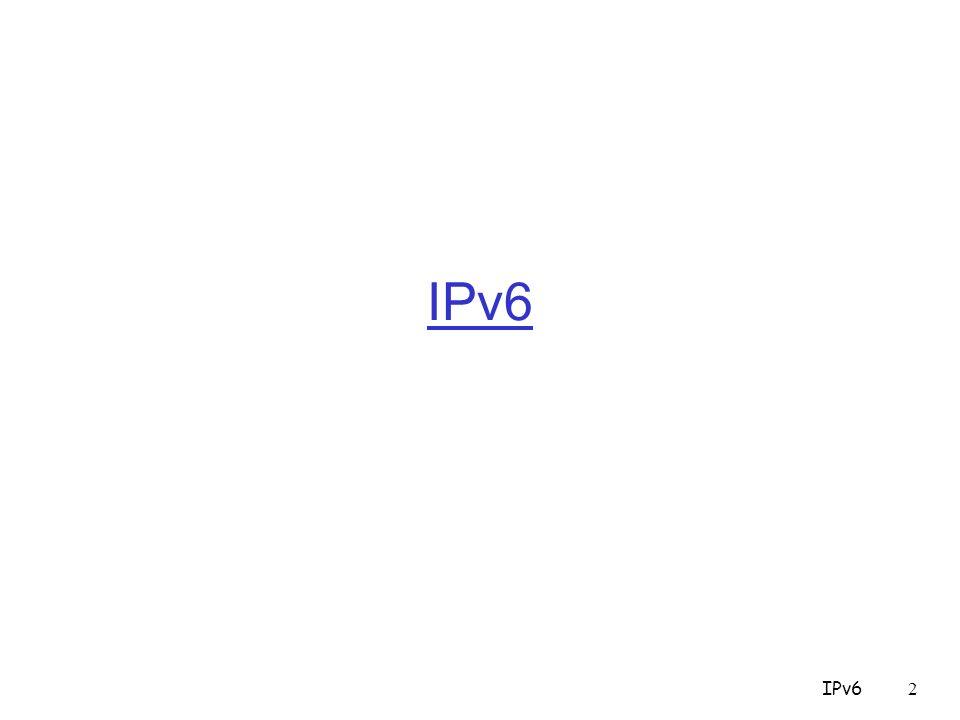 IPv623 Instradamento IPv6 E possibile specificare un elenco di router che il Dgram deve attraversare 0 8162431 Next header HDR EXT LEN Routing TypeSeg.