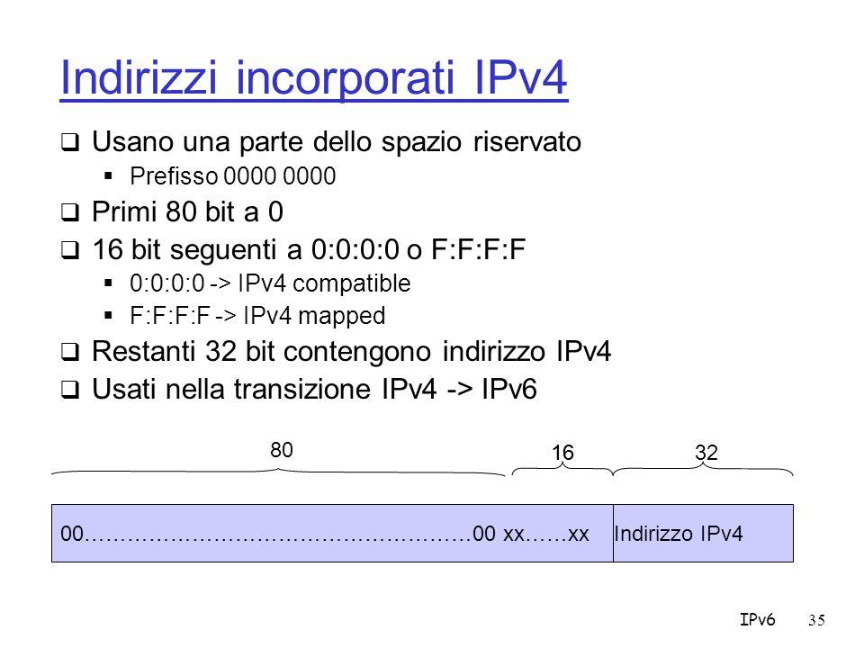 IPv635 Indirizzi incorporati IPv4 Usano una parte dello spazio riservato Prefisso 0000 0000 Primi 80 bit a 0 16 bit seguenti a 0:0:0:0 o F:F:F:F 0:0:0:0 -> IPv4 compatible F:F:F:F -> IPv4 mapped Restanti 32 bit contengono indirizzo IPv4 Usati nella transizione IPv4 -> IPv6 00………………………………………………00 xx……xx Indirizzo IPv4 80 163216