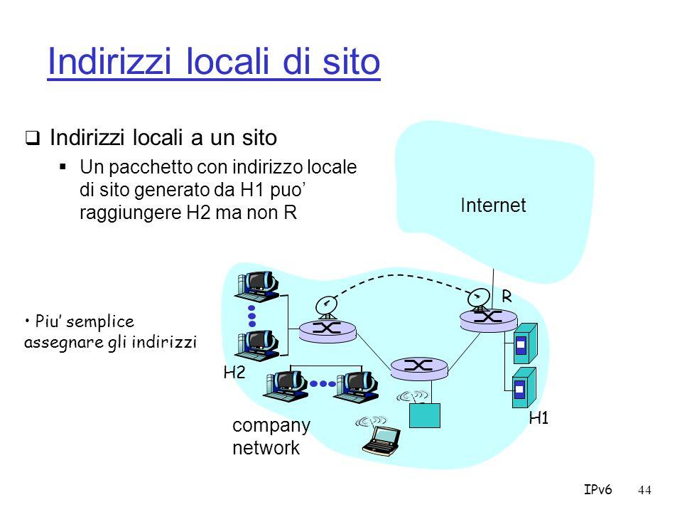 IPv644 Indirizzi locali di sito Indirizzi locali a un sito Un pacchetto con indirizzo locale di sito generato da H1 puo raggiungere H2 ma non R company network Internet H1 R H2 Piu semplice assegnare gli indirizzi