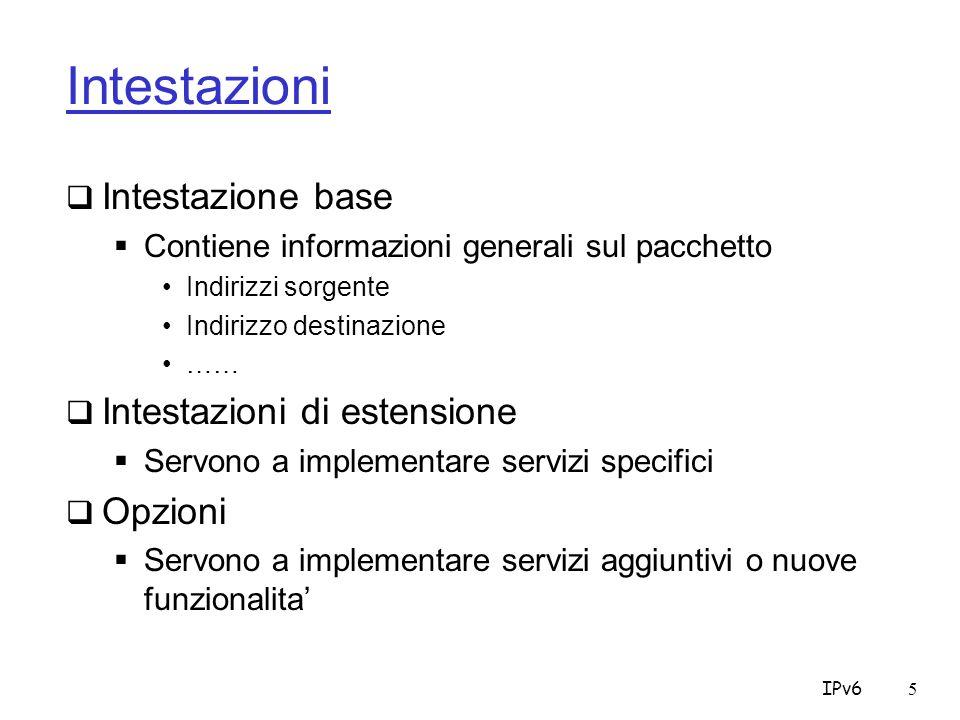 IPv65 Intestazioni Intestazione base Contiene informazioni generali sul pacchetto Indirizzi sorgente Indirizzo destinazione …… Intestazioni di estensione Servono a implementare servizi specifici Opzioni Servono a implementare servizi aggiuntivi o nuove funzionalita